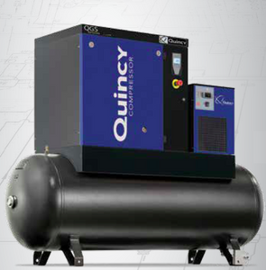 Quincy QGS-20 17 TMD, 20 HP Rotary Screw Air Compressor 60.8 CFM 120 Gallon Air Tank & Air Dryer 208-230/460 Volt, 3-Phase