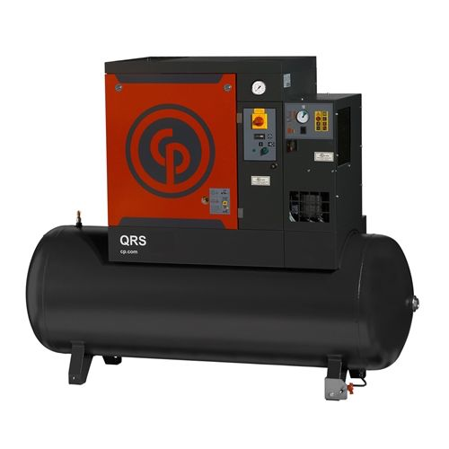 Chicago Pneumatic QRS 5.0 HPD 5 HP Rotary Screw Compressor, 16.6 ACFM @ 150 PSI with 60 Gallon Tank & Air Dryer, 230 Volt 1-Phase