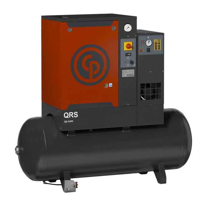 Chicago Pneumatic QRS 7.5 HPD  7.5 HP Rotary Screw Air Compressor, 21.2 CFM @ 150 PSI, 60 Gallon Tank & Air Dryer 208-230/460 Volt, 3-Phase