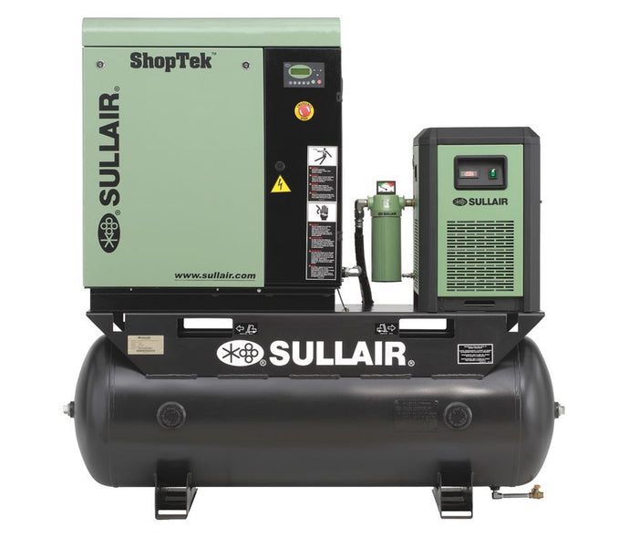 Sullair ShopTek ST510RD/208-230/460/3/60, 7.5-HP Performance Air System 80 Gallon Air Tank & Refrigerated Dryer (Tri-Voltage/3/150PSI) 3-Phase | ST510RD/208-230/460/3/60
