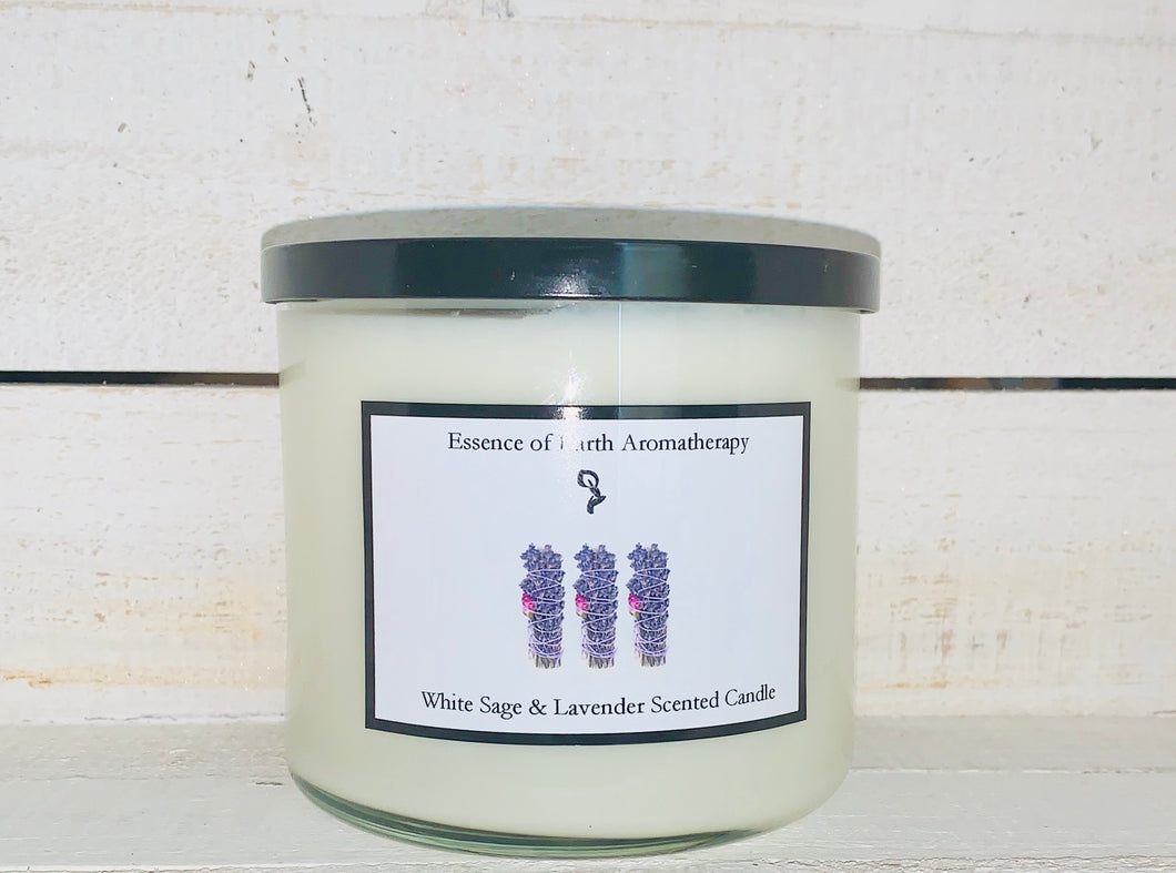3 Wick White Sage and Lavender Soy Wax Scented Candle