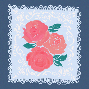 Vintage Rose Handkerchief - Art Print