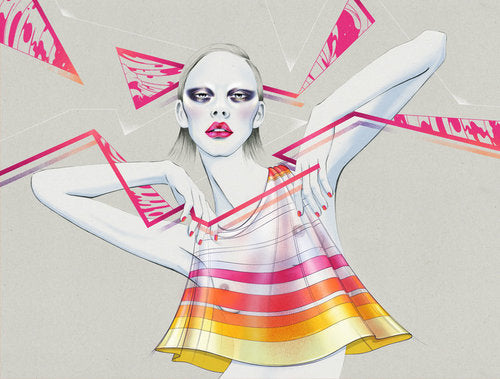 Disco girl fashion illustration by Melbourne based illustrator Kelly Thompson