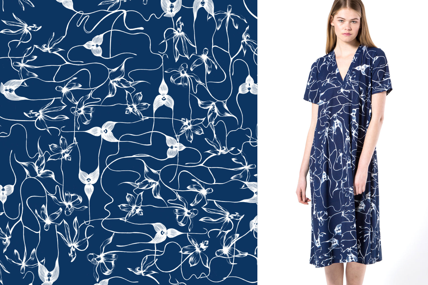 Melbourne botanical illustrator Kelly Thompson textile print design for BLAK clothing New Zealand