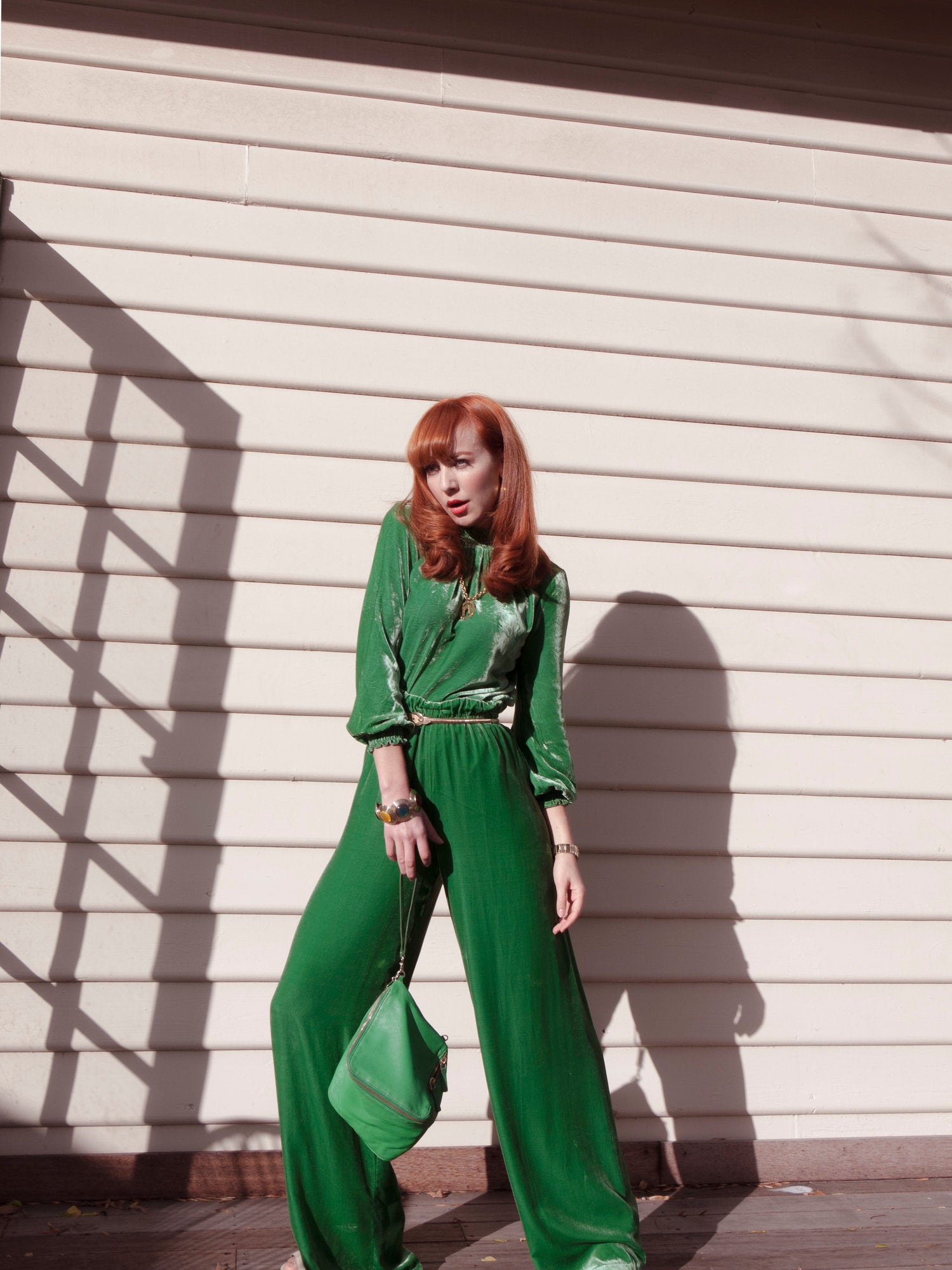 Red head Melbourne Illustrator Kelly Thompson wearing Kate Sylvester Velvet