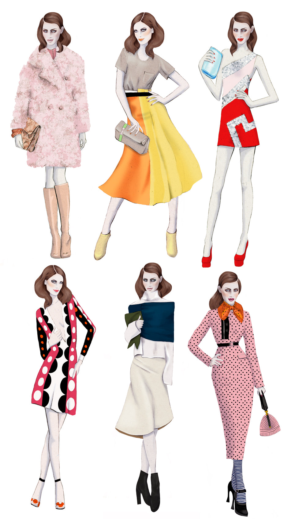 Mrs Mills London Sunday Times fashion illustration by Melbourne based illustrator Kelly Thompson