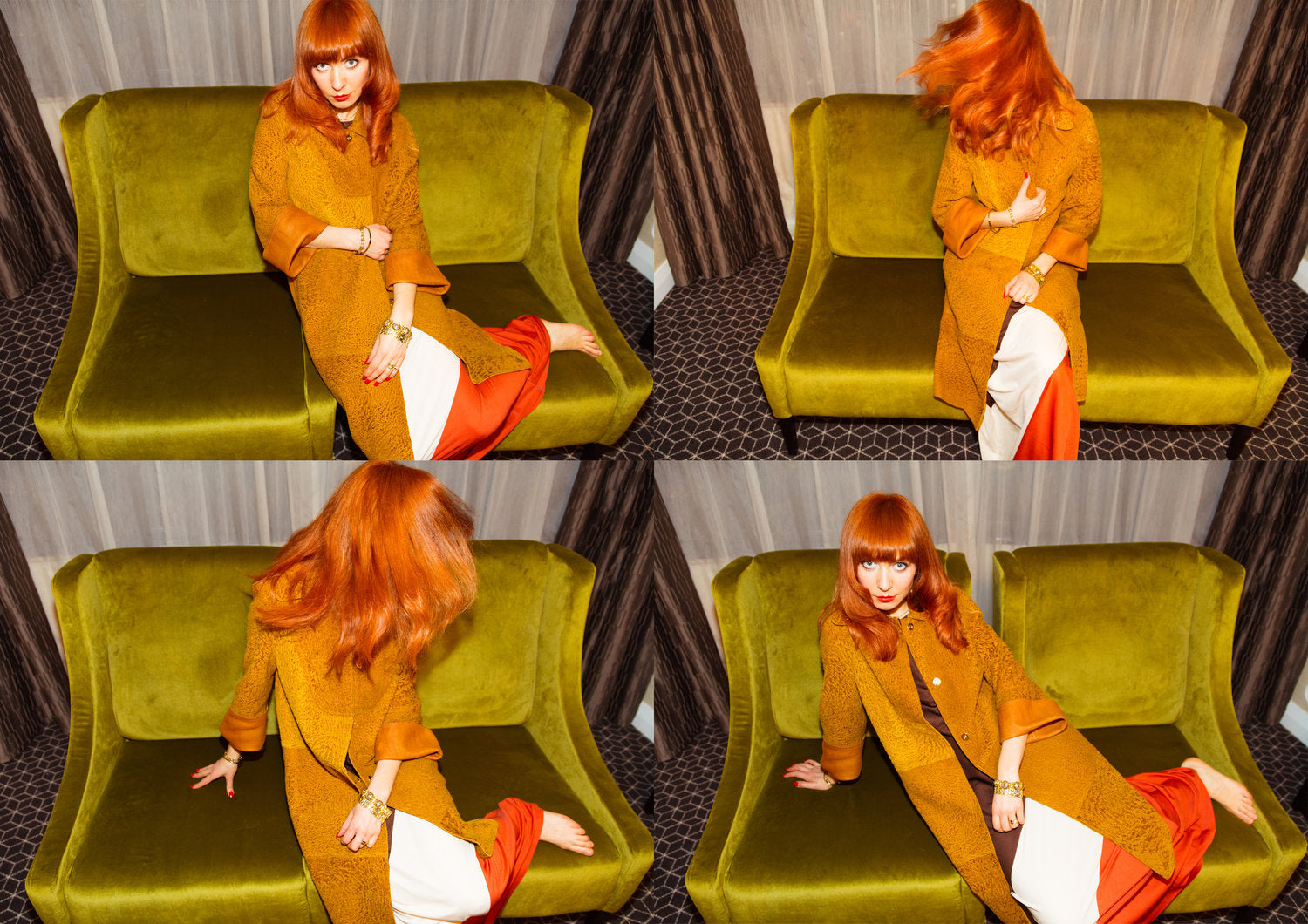 Melbourne Illustrator Kelly Thompson redhead on velvet couch at the Grand Mecure Hotel in Auckland. New Zealand Fashion Week