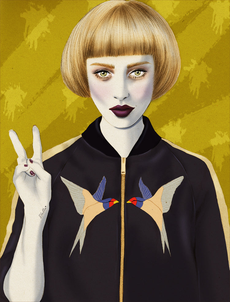 Stella McCartney bomber jacket Net-a-Porter fashion illustration by Melbourne based illustrator Kelly Thompson