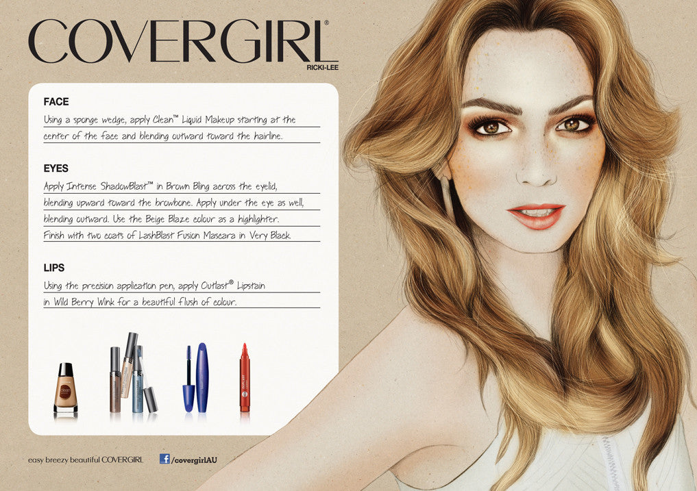 Covergirl Australia Ricki Lee illustrated portrait by Melbourne based illustrator Kelly Thompson