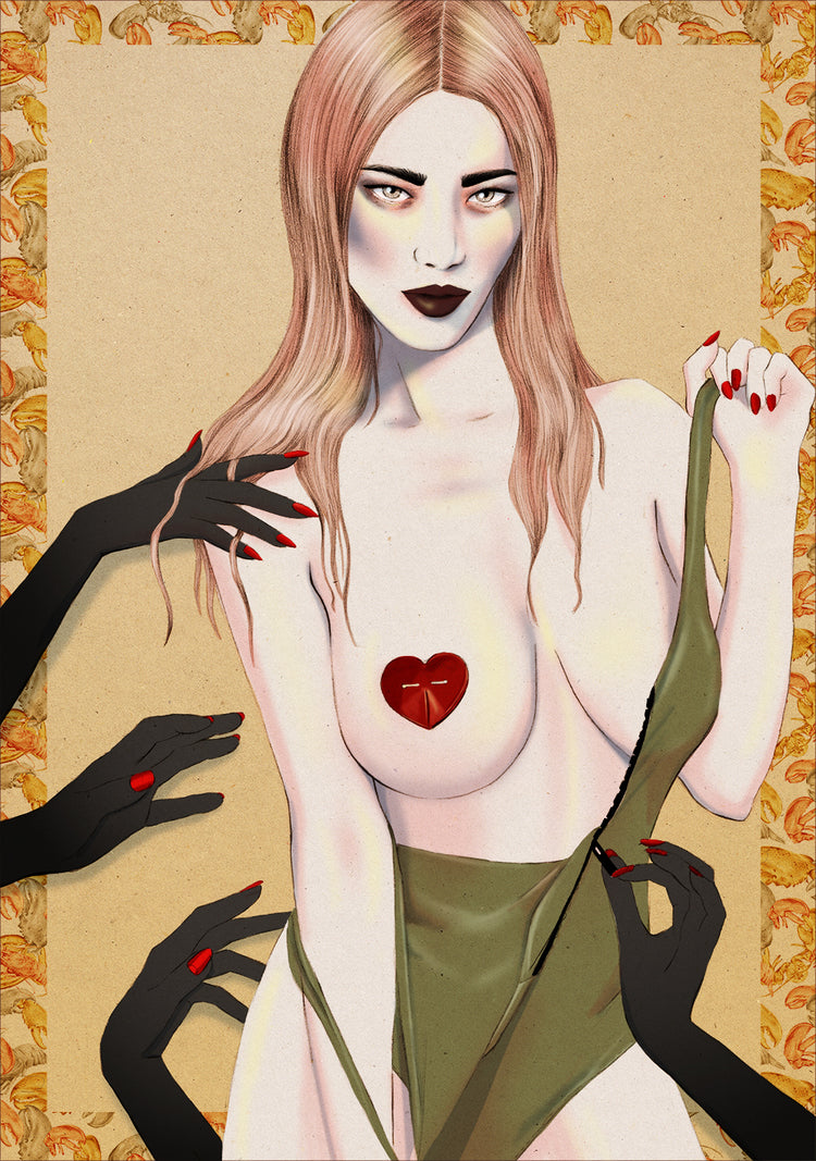 Marc Jacobs Zara Bayne pasties nude illustration by Melbourne based illustrator Kelly Thompson