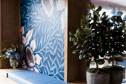 Wallpaper illustration botanical interior races commission by Melbourne based illustrator Kelly Thompson