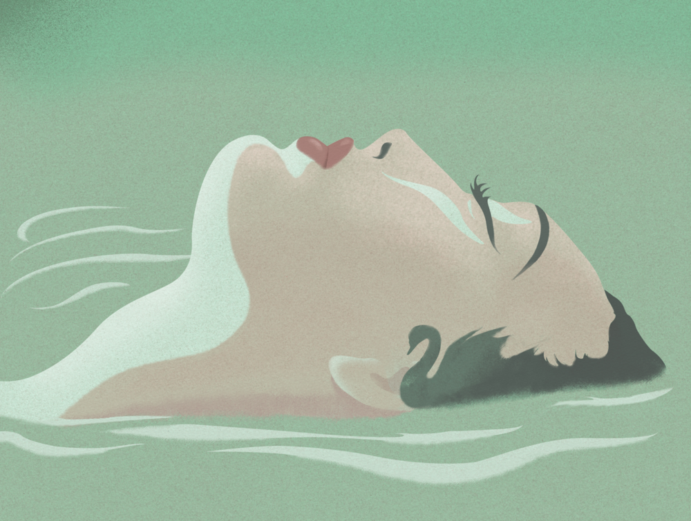 Brand concept Doctor Studio illustration woman water by Melbourne based illustrator Kelly Thompson
