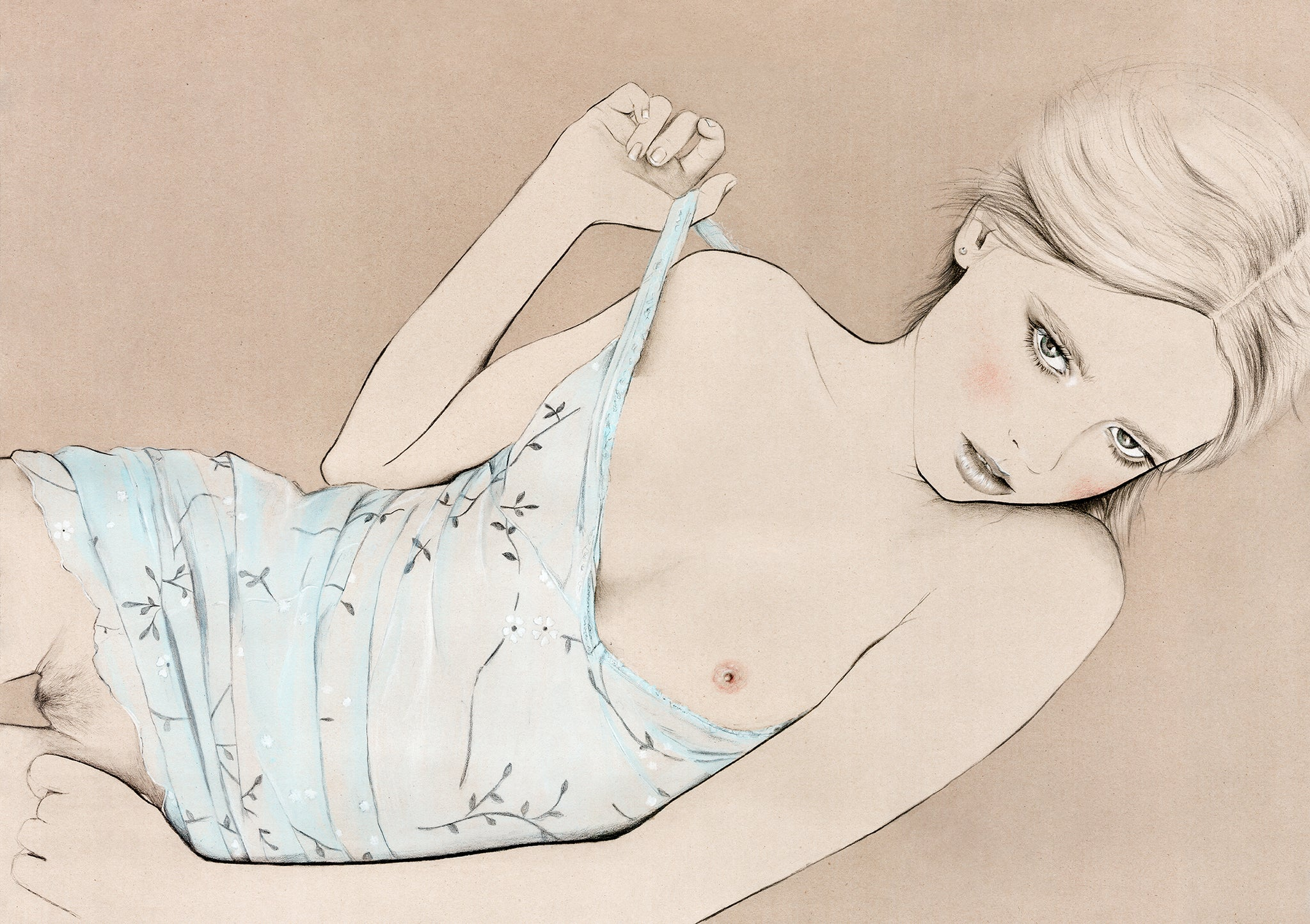 Nude girl illustration fashion illustration by Melbourne based illustrator Kelly Thompson