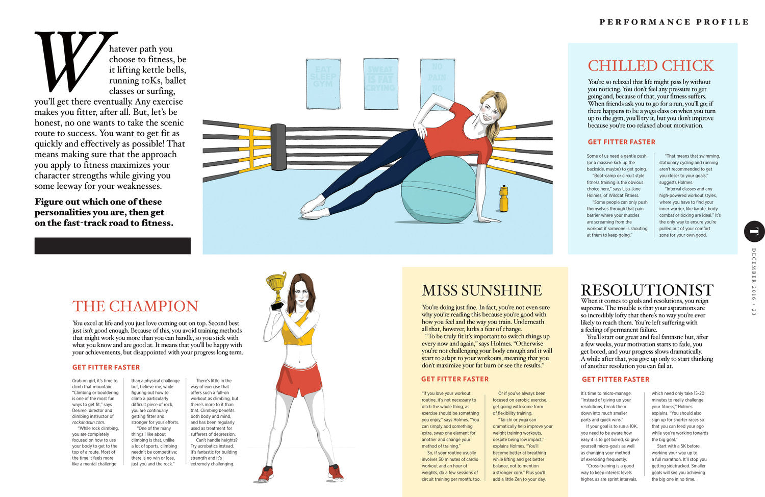 Editorial Illustration MMA Womens Health Magazine, fitness illustration by Melbourne Illustrator Kelly Thompson