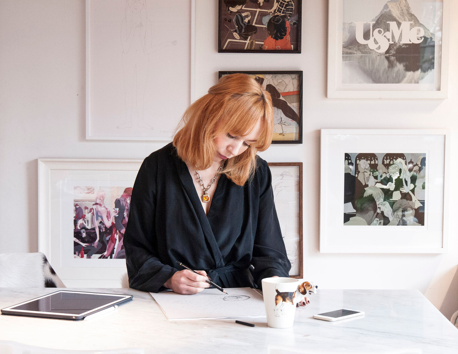 Melbourne illustrator Kelly Thompson at the desk