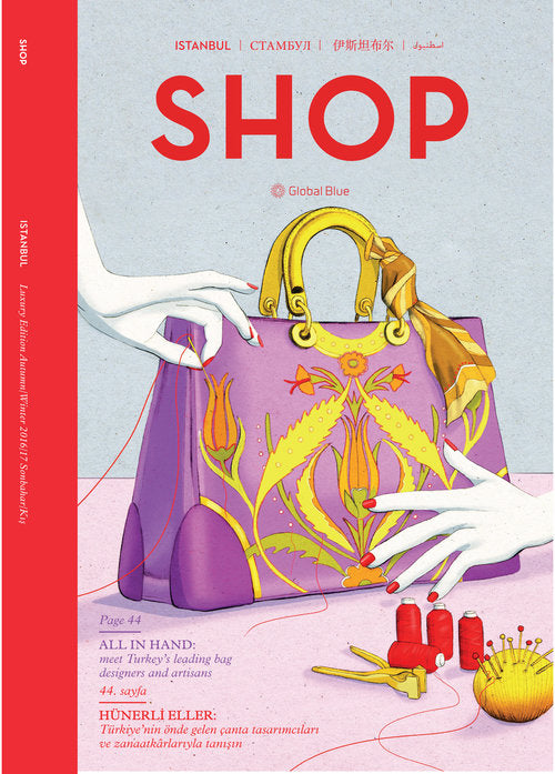 SHOP Magazine Luxury Istanbul cover handbag fashion illustration by Melbourne based illustrator Kelly Thompson