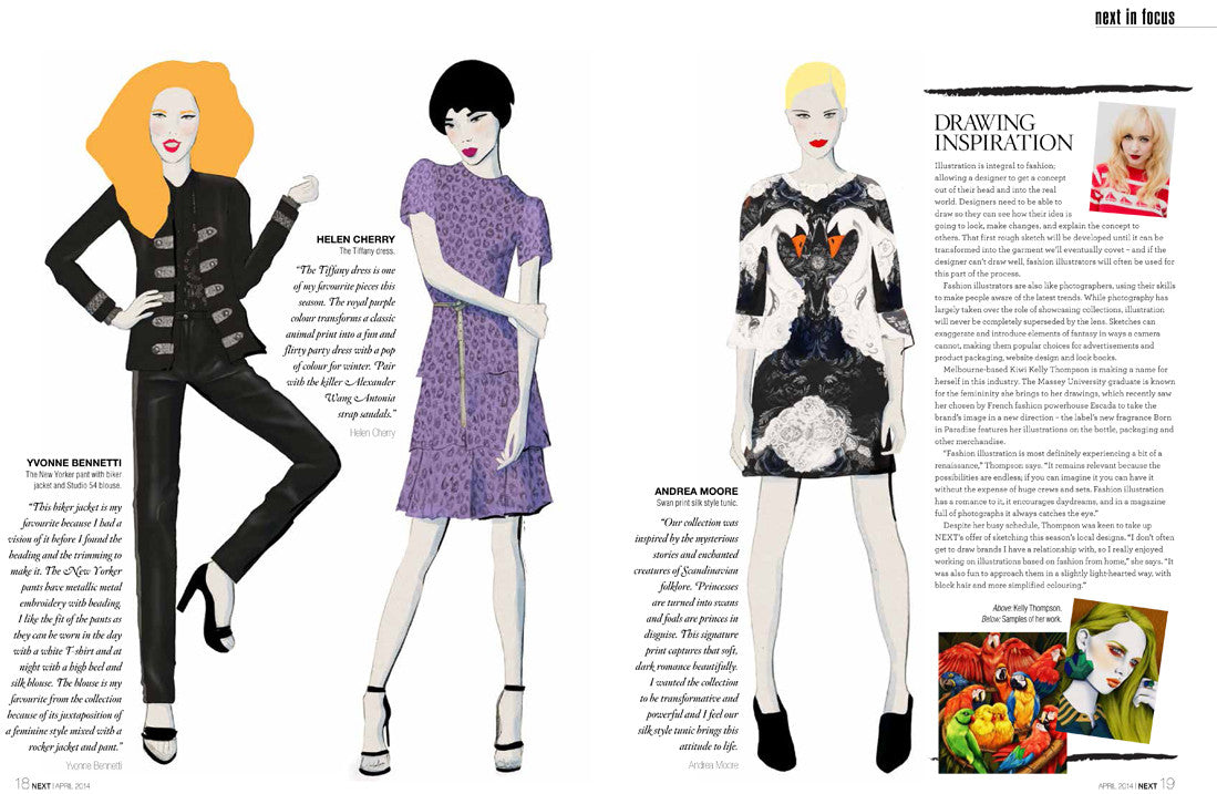 fashion Illustrator Kelly Thompson Next Magazine New Zealand