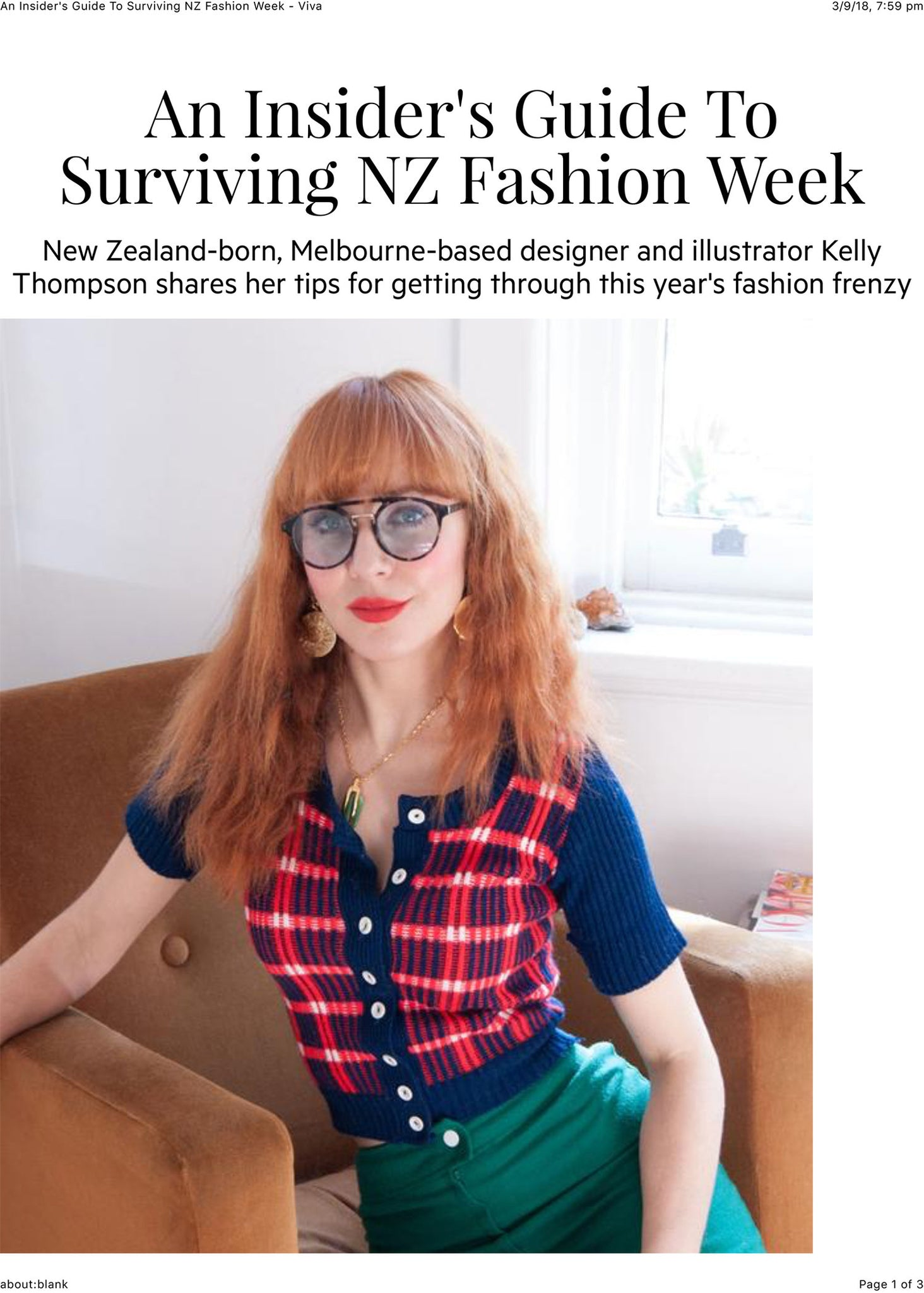 Melbourne Illustrator Kelly Thompson talks to Viva Magazine about surviving New Zealand Fashion Week