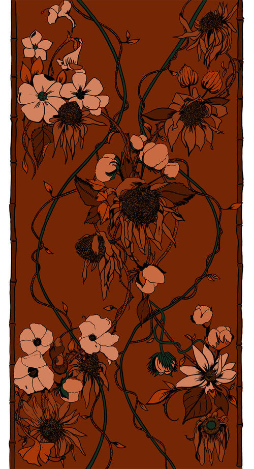 Wynn Hamlyn florals fashion commission fabric print rug illustration New Zealand Fashion Week by Melbourne based illustrator Kelly Thompson