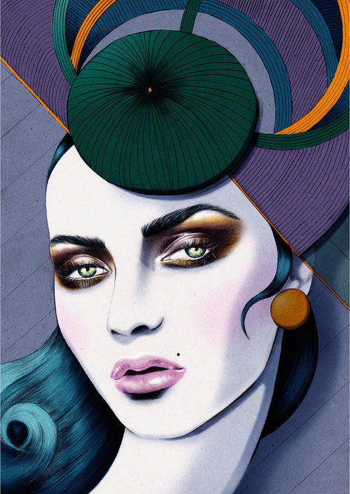 Personal woman fashion fascinator hat race illustration by Melbourne based illustrator Kelly Thompson