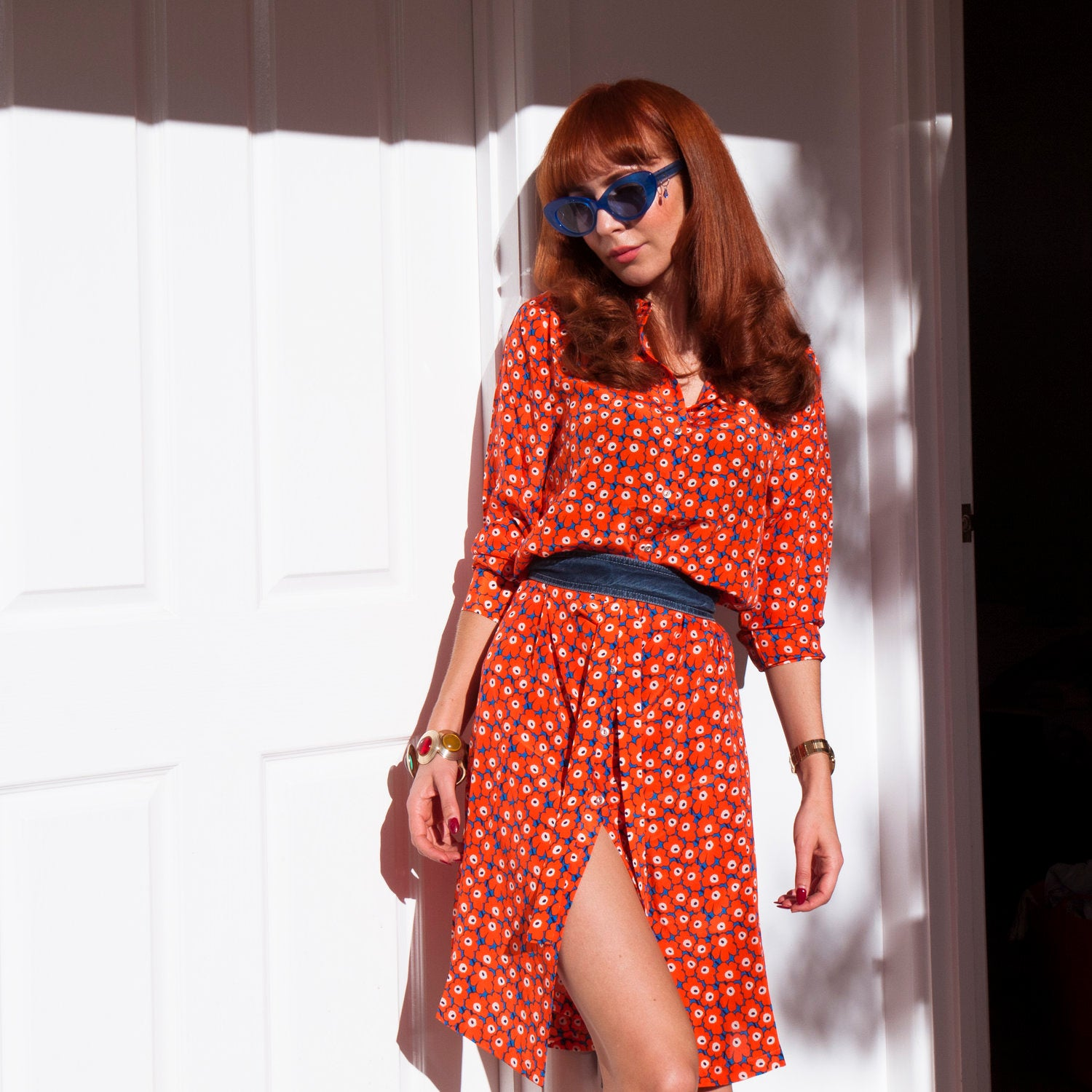 Red head illustrator Kelly Thompson wearing Marimekko