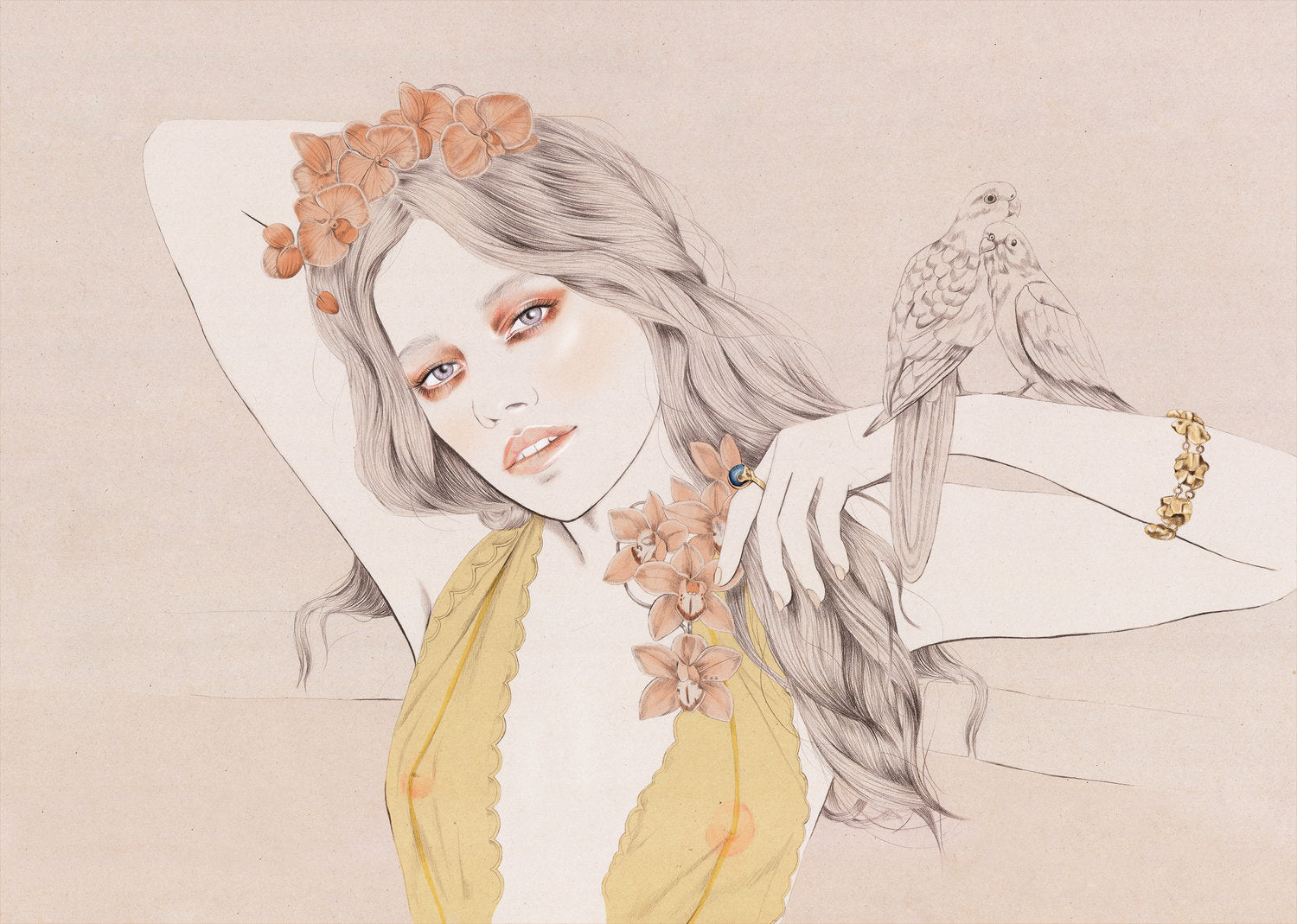 Melbourne beauty and botanical illustrator Kelly Thompson , pencil skecth of Zippora Seven wearing Love & object jewellery