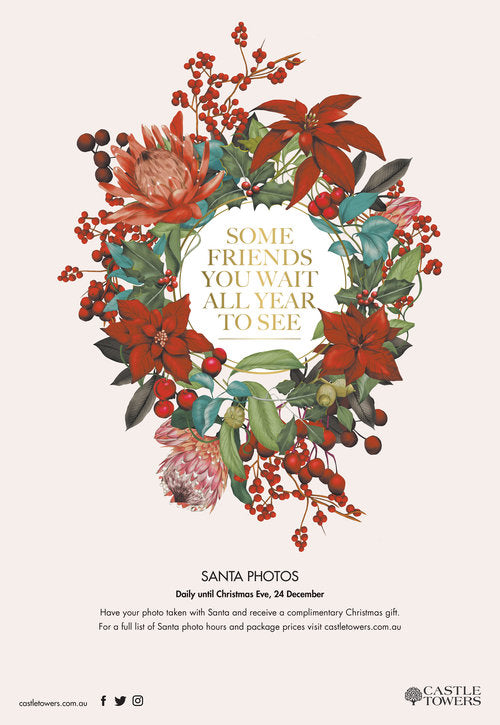Christmas wreath Castle Towers advertising department store botanical illustration by Melbourne based illustrator Kelly Thompson