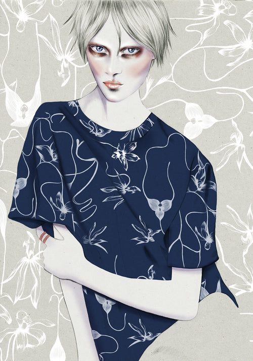 BLAK fashion girl illustration by Melbourne based illustrator Kelly Thompson