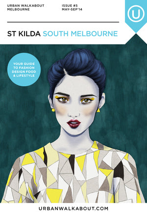 Urban Walkabout cover St Kilda fashion illustration by Melbourne based illustrator Kelly Thompson