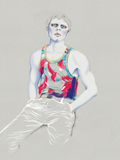 Sporty casual fashion man illustration by Melbourne based illustrator Kelly Thompson