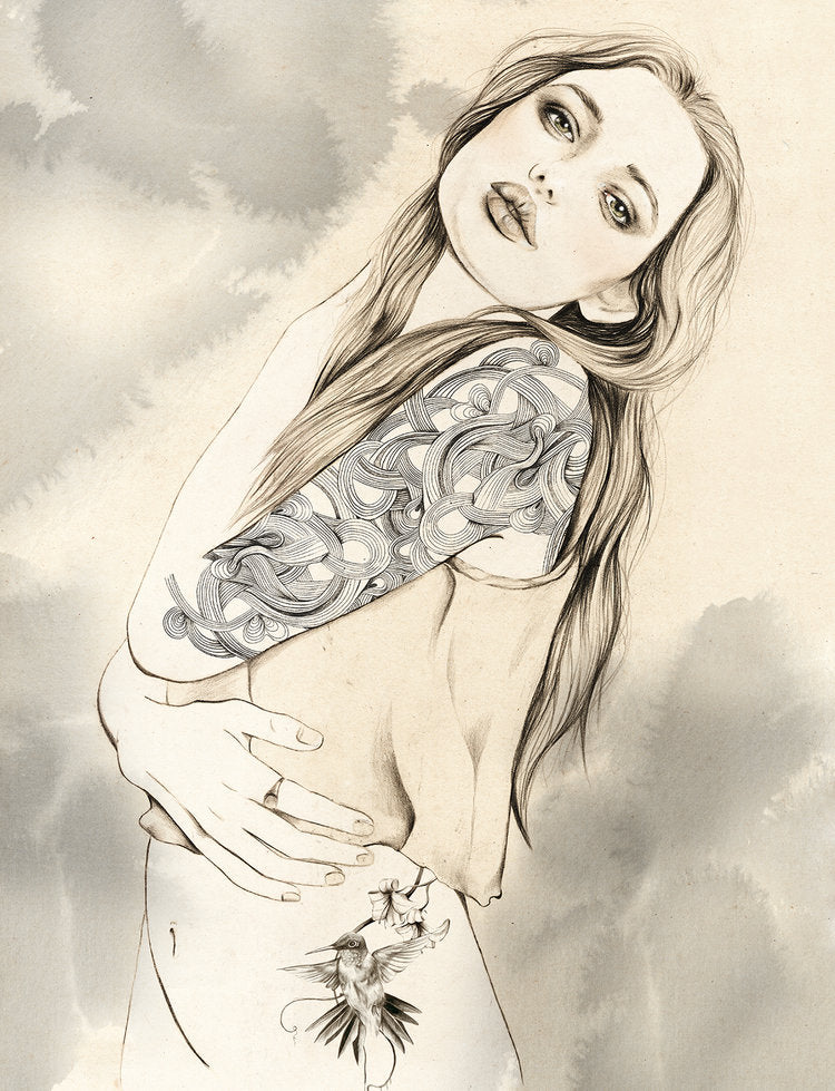 Pencil illustration girl with tattoo sleeve by Melbourne based illustrator Kelly Thompson