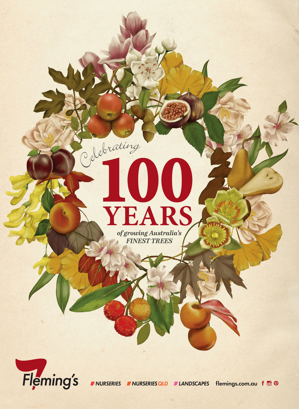 Fleming's Nursery 100 Year Anniversary wreath botanical illustration advertising by Melbourne based illustrator Kelly Thompson
