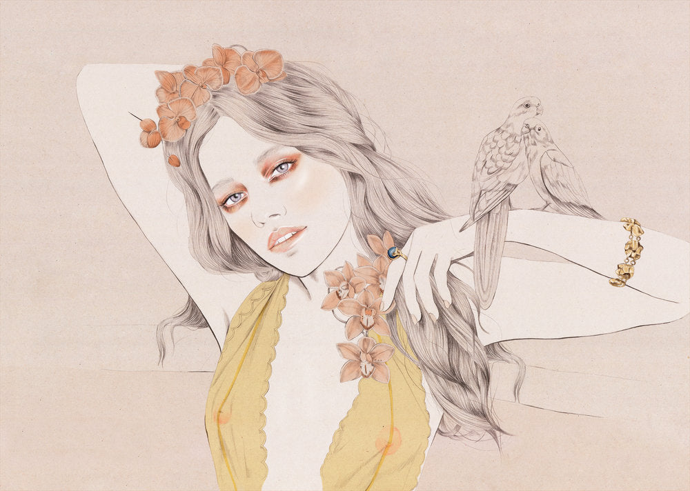Love and Object campaign wildlife girl fashion illustration by Melbourne based illustrator Kelly Thompson