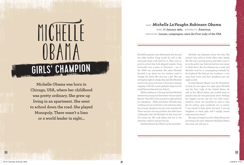 Carlton Books Michelle Obama politician First Lady girls champion woman illustration by Melbourne based illustrator Kelly Thompson