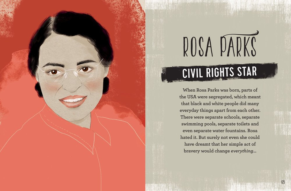 Carlton Books Rosa Parks Civil Rights woman illustration by Melbourne based illustrator Kelly Thompson