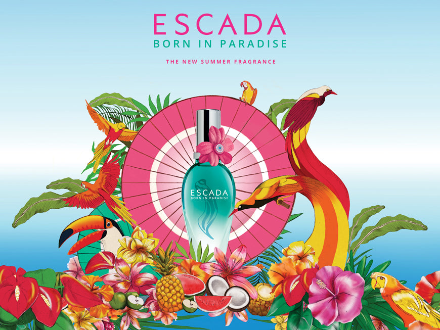 Melbourne beauty illustrator Kelly Thompson packaging illustration for Escada Paris Born in Paradise
