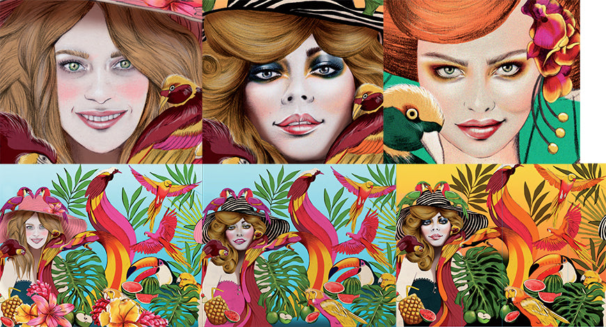 Melbourne Illustrator Kelly Thompson WIP illustrations for Escada Born in Paradise perfume