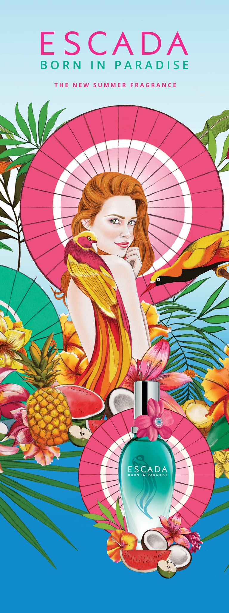 Melbourne beauty illustrator Kelly Thompson for Escada Paris Born in Paradise packaging