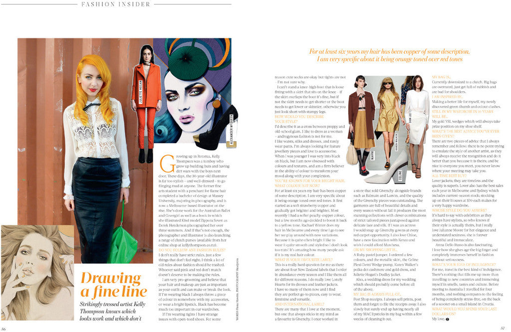 Illustrator Kelly Thompson Street Style Fashion Quarterly Magazine New Zealand