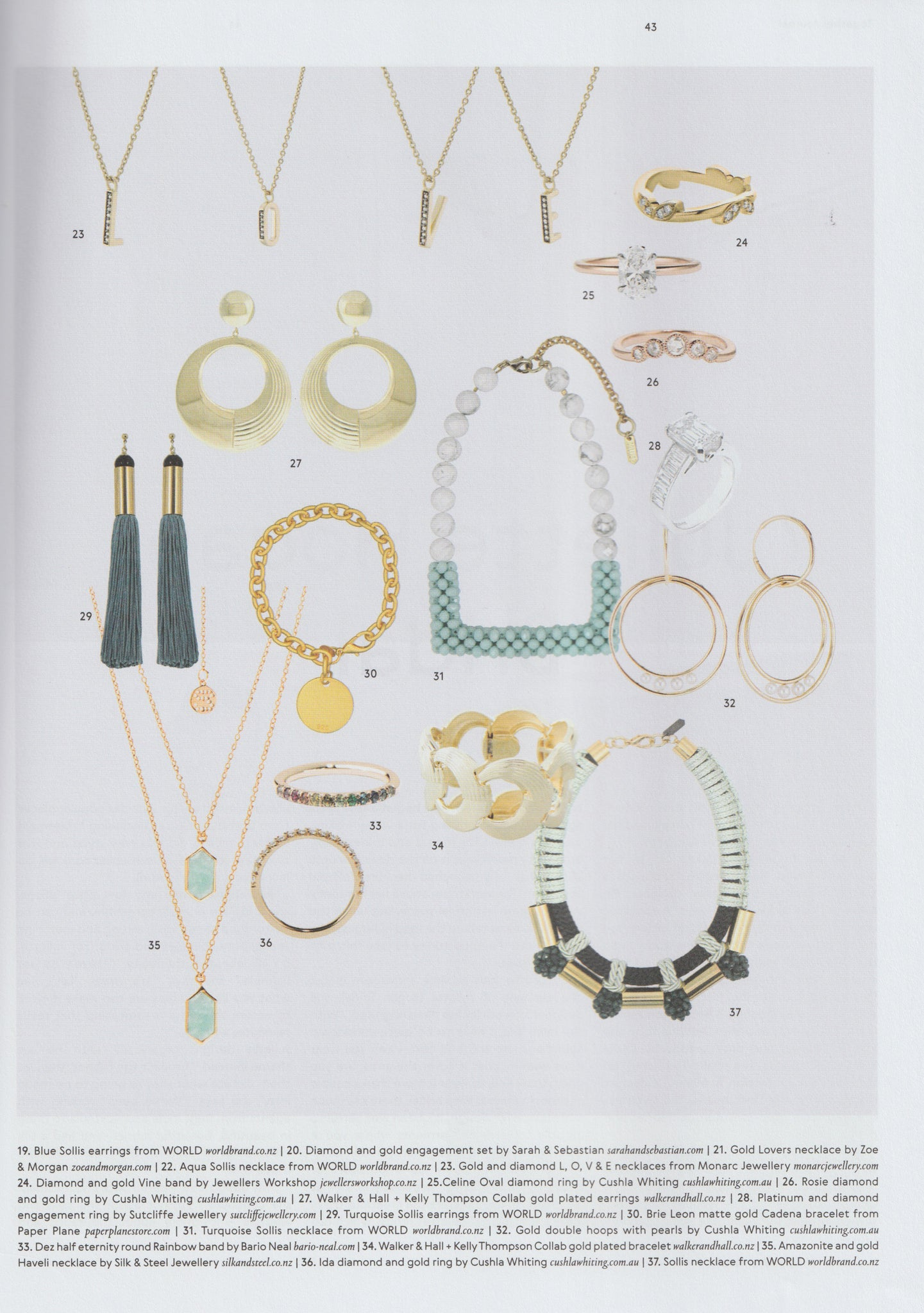 Together Journal Issue 14 Illustrator Kelly Thompson jewellery design collaboration with Walker and Hall jewellery
