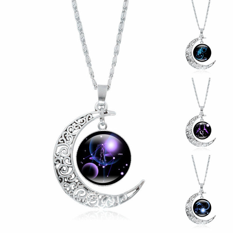 12 Constellation Necklace Silver Crescent Moon (F+S) - Attract Wear