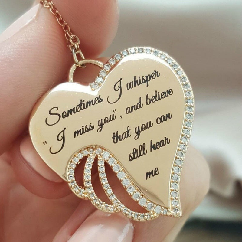 Sometimes I Whisper I Miss You, and Believe That You Can Still Hear Me Elegant Sanctity Angel Wing Necklace Jewelry Gifts - Attract Wear