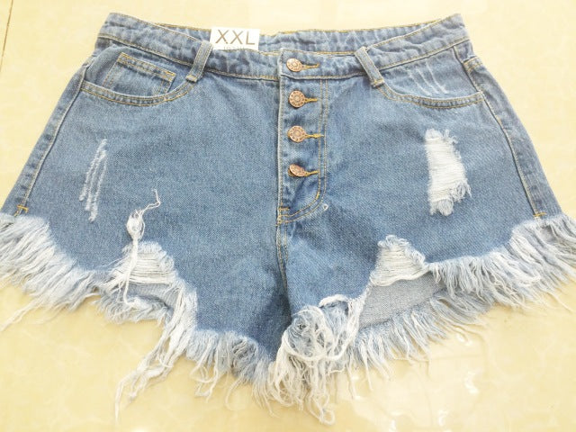 Loose Burr Hole Jeans Shorts - Attract Wear