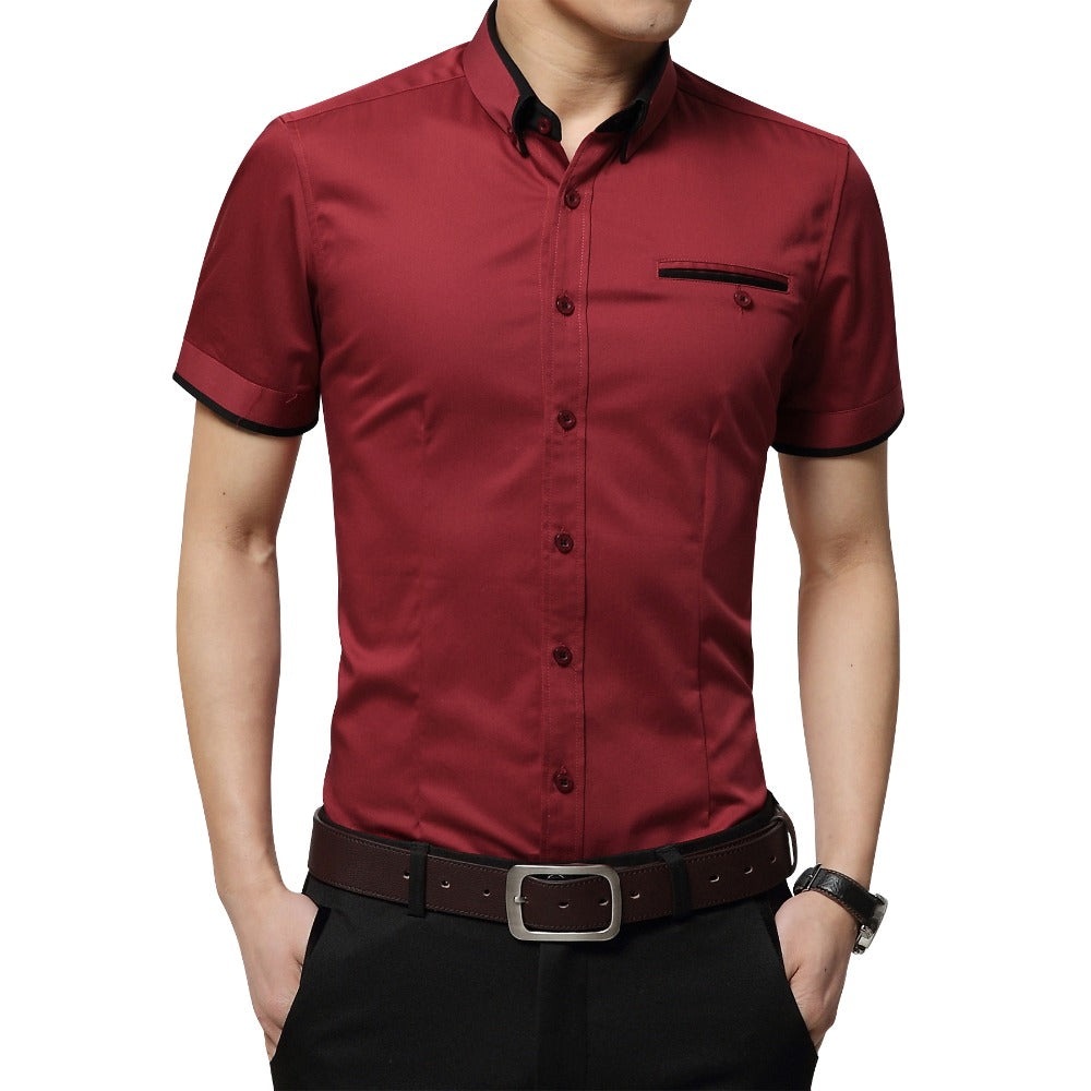 Men's Summer Business Shirt Short Sleeves Turn-down Collar Size 5XL - Attract Wear