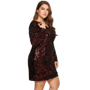 IN'VOLAND Women's Plus Size Sexy Deep V-Neck Long Sleeve Sequined Bodycon Cocktail Dress - Attract Wear