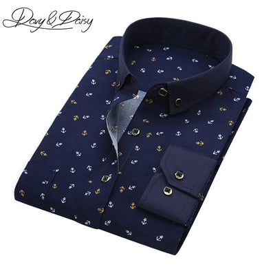 DAVYDAISY Spring Men's Shirt Social Dress Print Casual Slim Fit Long Sleeve Shirts - Attract Wear