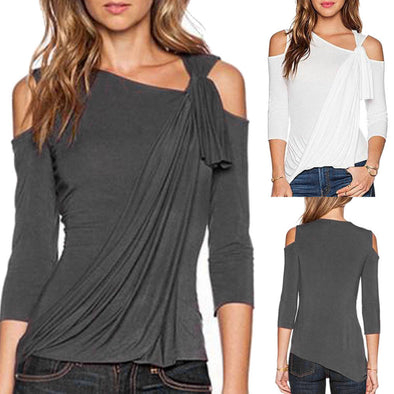Women Summer Loose Top Off Shoulder Blouse Ladies Casual Tops - Attract Wear