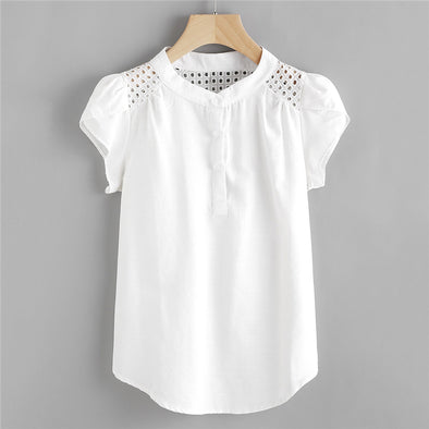 Eyelet Embroidered Panel Blouse - Attract Wear
