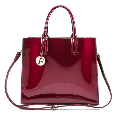 3 Sets High Quality Patent Leather Women Luxury Handbags - Attract Wear