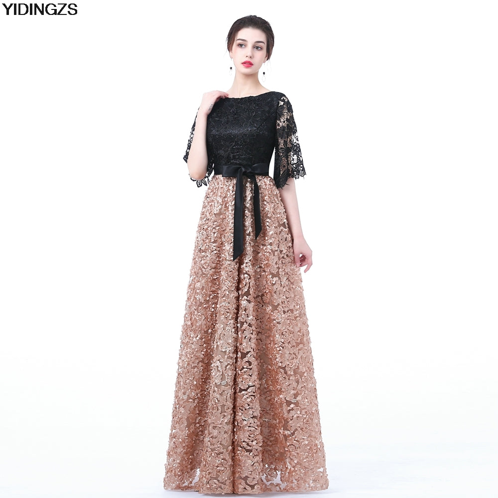 YIDINGZS Floor-length Long Prom Party Gowns With Khaki Color Lace - Attract Wear